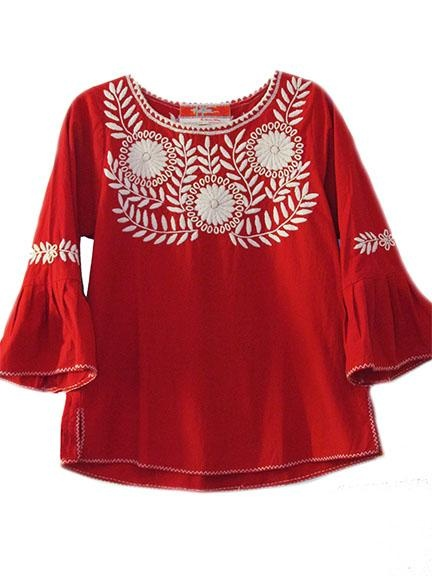 Oaxaca Bell Sleeve Embroidered Mexican Blouse