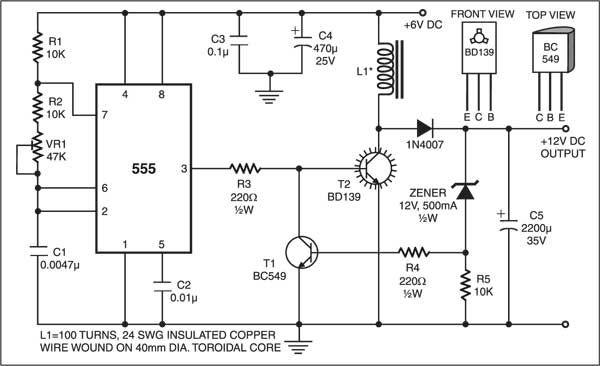 Here's a low-cost circuit to convert 6V DC into 12V DC. It uses no transformer and is easy to construct with few components. The circuit is built around IC 555, which generates the required frequency of around 2 to 10 kHz to drive power transistor BD139 (T2). The output frequency of the IC can be …