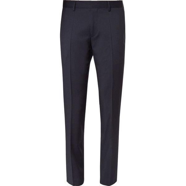 Hugo Boss Blue Gibson Slim-Fit Super 120s Virgin Wool Suit Trousers (775 BRL) ❤ liked on Polyvore featuring men's fashion, men's clothing, men's pants, men's dress pants, mens slim fit suit pants, mens slim pants, mens blue pants, mens blue dress pants and mens slim fit dress pants