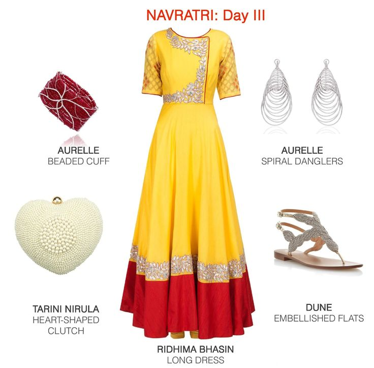 Classic festive hues of red and yellow get an understated edge when paired with silver and pearly accessories.  #fashion #festive #ootd #style #lookbook #womenswear