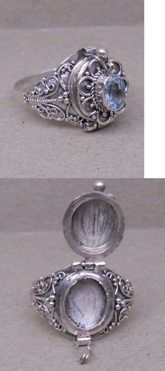 Rings 110666: Handmade Sterling Silver Blue Topaz Poison Or Cremation Ring Size 6-7-8-9-10 BUY IT NOW ONLY: $34.99