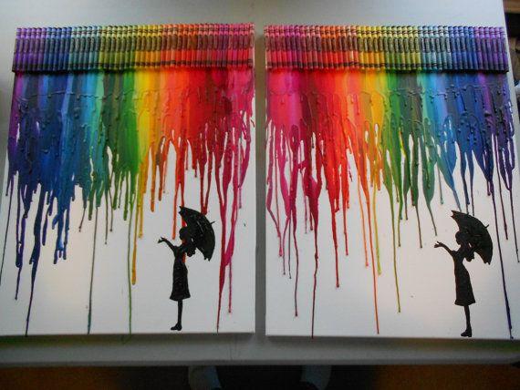Ragazza in pioggia fuso pastello arte pittura