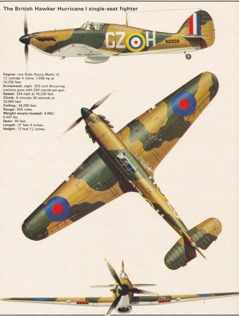 The British Hawker Hurricane I. ON THIS DAY 10TH JULY 1940: BATTLE OF BRITAIN – THE FIGHTERS! The Hurricane. See: http://wp.me/p2Qfae-Li