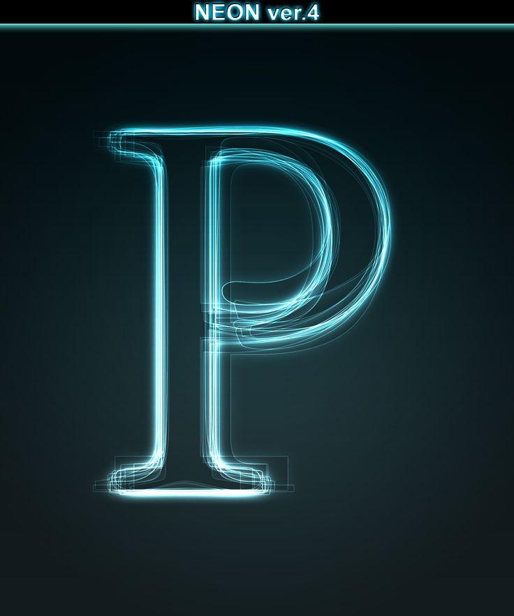 Glowing neon font. Shiny letter P on black background ...