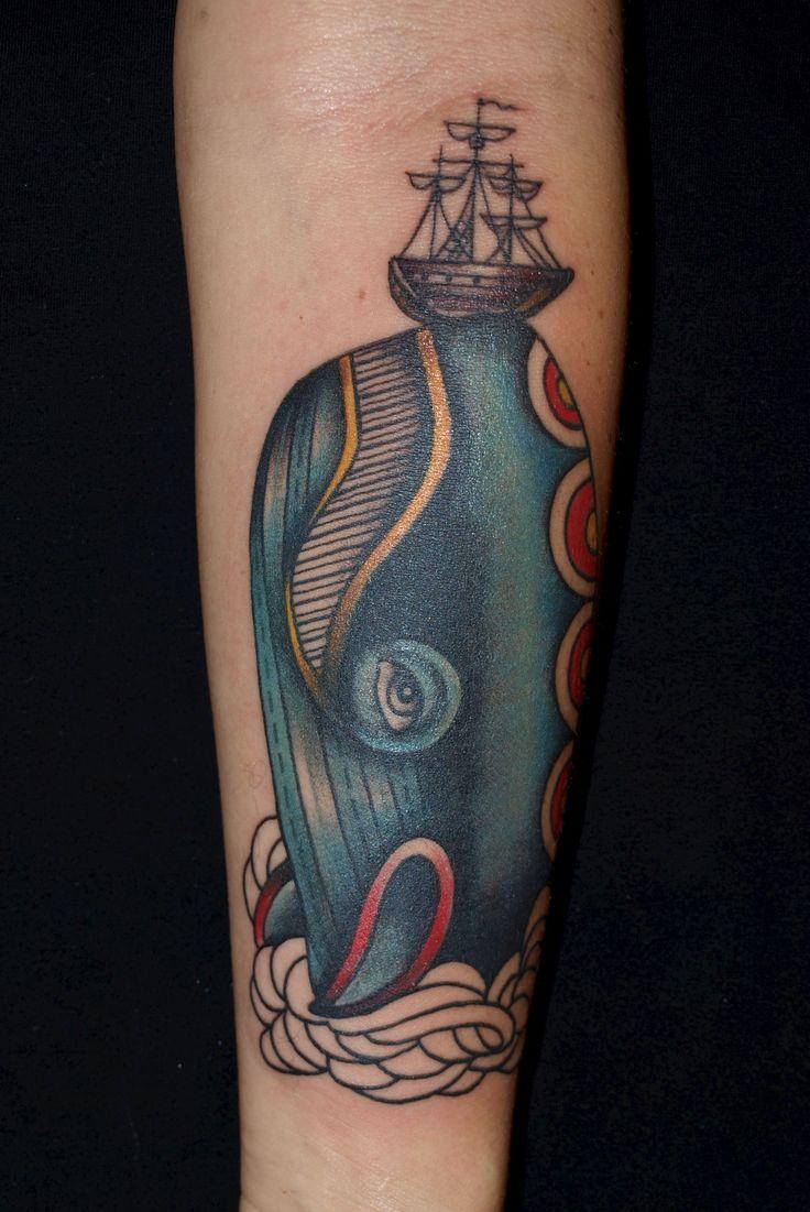 Pietro Sedda - whale and ship tattoo