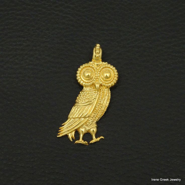 BIG ATHENA OWL PENDANT 925 STERLING SILVER 22K GOLD PLATED GREEK ART PENDANT #IreneGreekJewelry #Pendant