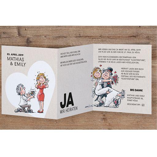Lustige Hochzeitseinladungen online bestellen bei Top-Kartenlieferant in Aachen.