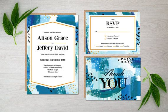 Watercolor Wedding Invitation - blue - teal - painted - watercolors - formal - invite - suite - modern - abstract  #Watercolor #Wedding #Invitation - #blue - #teal - #painted - #watercolors - #formal - #invite - #suite - #modern - #abstract
