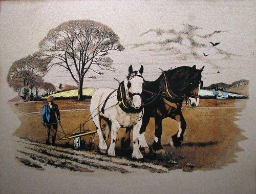Rare Titanium Picture titled  Draft Horse & Plough . Australian art work