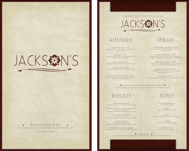 Jackson s restaurant menu designed by amber bennett at