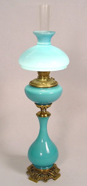 """37"""" VICTORIAN CASED GLASS OIL BANQUET LAMP, ELECTRIFIED"""