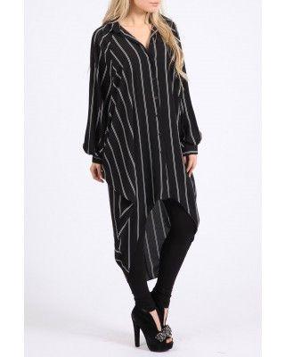Black Stripe Shirt Dress