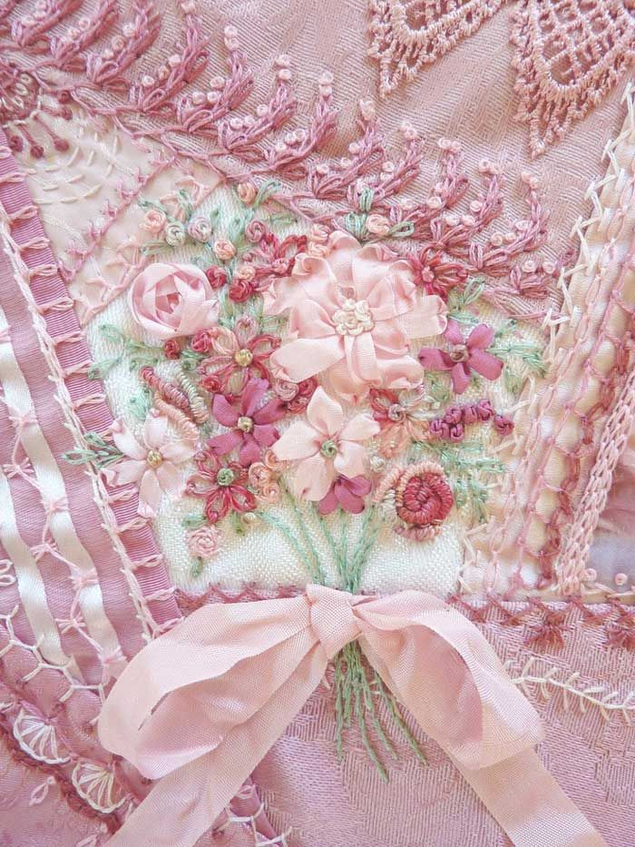 beautiful pink ribbons & #embroidery on shabby chic comforter #nyrockphotogirl