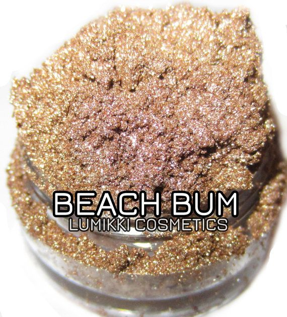 Beach Bum SAMPLE SIZE Mini Jar Sandy Taupe Gold Shimmer Mineral Eyeshadow Mica Pigment Lumikki Cosmetics