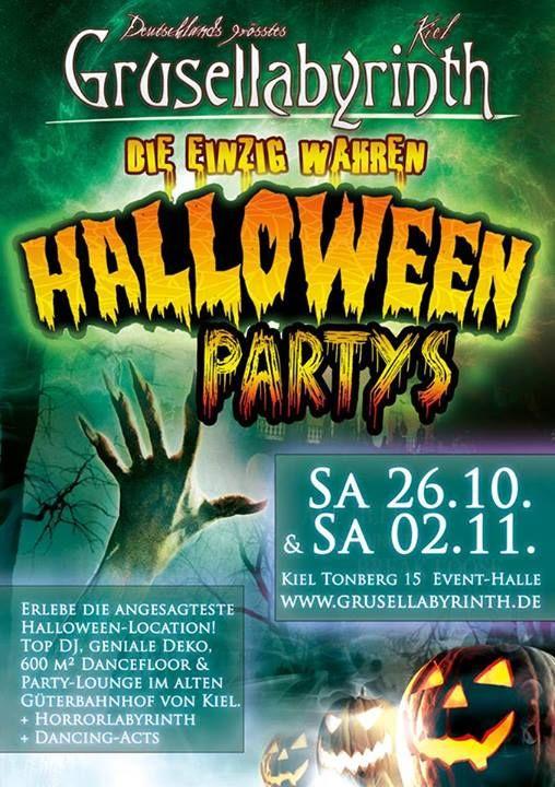 Halloween Party Vol. 2 am 2.11. im Grusellabyrinth Kiel. Die erste Party war klasse. Die zweite sieht mich denn auch. =)