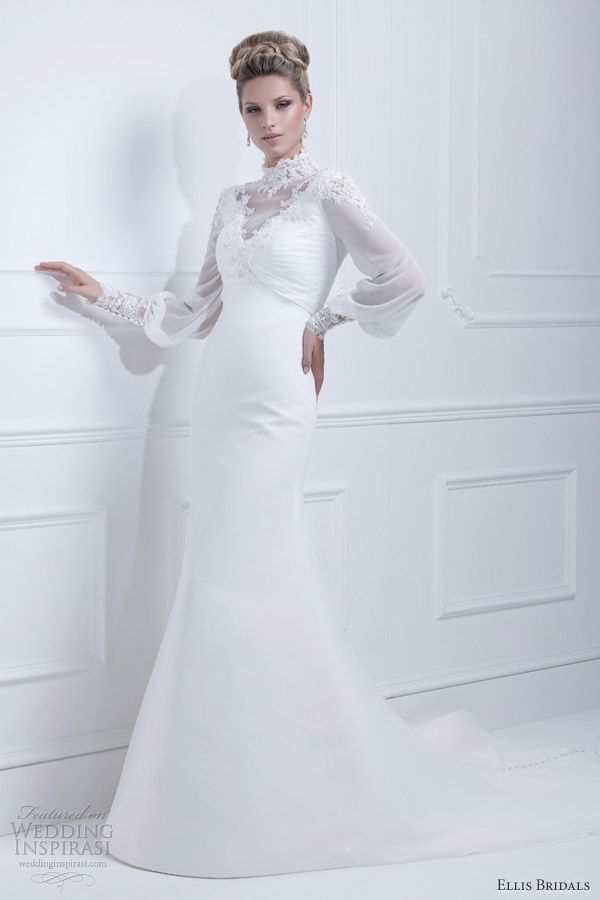 ellis bridals wedding dresses 2013 high neck long sleeve gown 11327