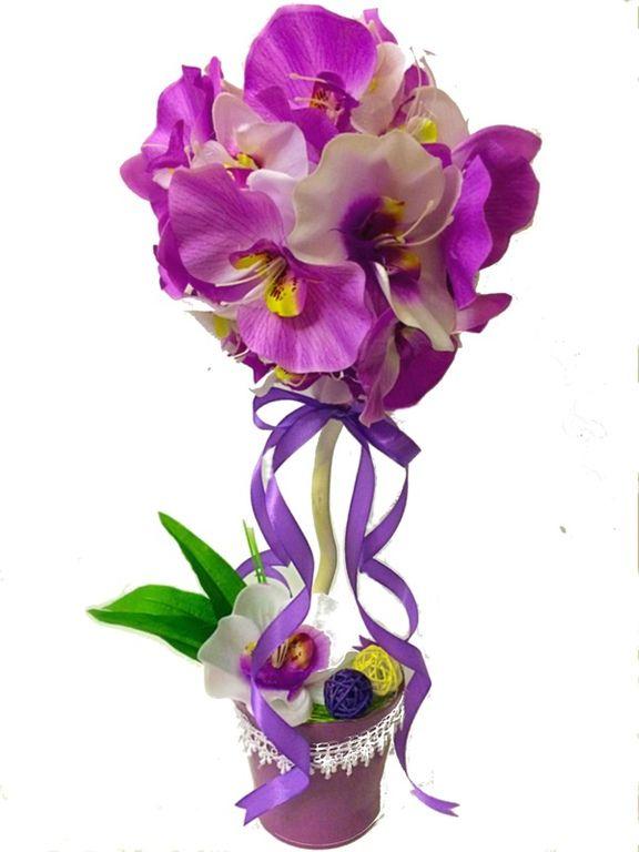 """Топиарии ручной работы. Ярмарка Мастеров - ручная работа. Купить Топиарий """"Орхидея"""". Handmade. Дерево счастья, топиарий из орхидей"""