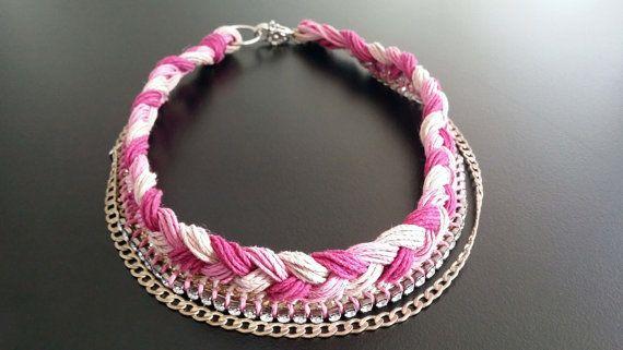Ecofriendly Pink  Fuscia color Choker Handmade hemp by BYTWINS, €95.00