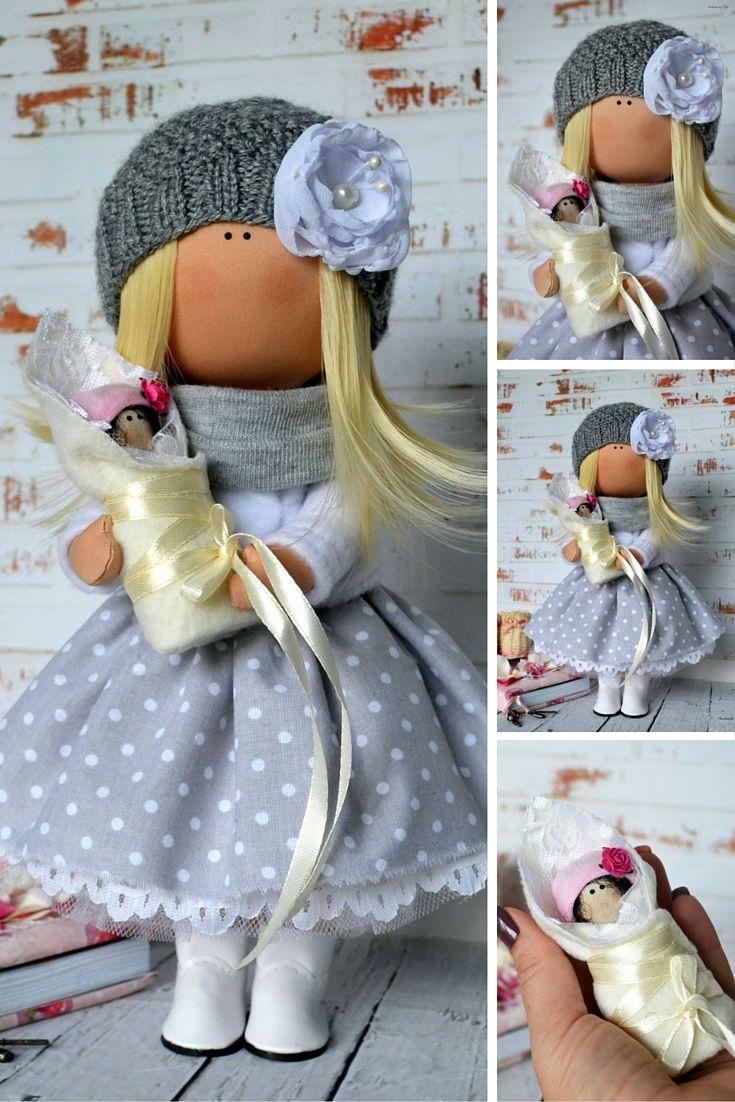 Fabric doll Handmade doll Nursery doll Art doll Textile Grey color doll…