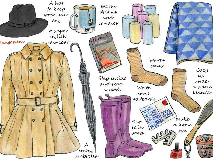 Here are some ideas to make the most of those cold, rainy autumn days. Go outside and enjoy the fresh air and daylight, with a stylish raincoat and a strong umbrella. Or stay inside and relax with a good book and some warm drinks. How do you like to spend a rainy day? Let me know in the comments below!