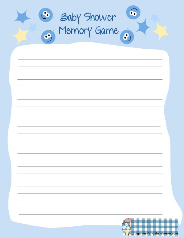 free printable for baby shower memory game in blue color ...