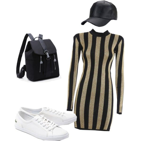 A fashion look from January 2017 featuring Balmain dresses and Lacoste sneakers. Browse and shop related looks.