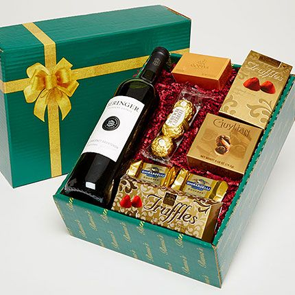 Beringer wine gift box, wine and chocolate gift box delivered Boston | Ruma's Fruit & Gift Baskets