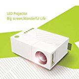 WEILIANTE Mini LED HD Projector Home Theatre Cinema Video Projector Connection with Iphone Android iPad Tablet for Home Outdoor Available via AV/VGA/USB/SD/HDMI Input (White)