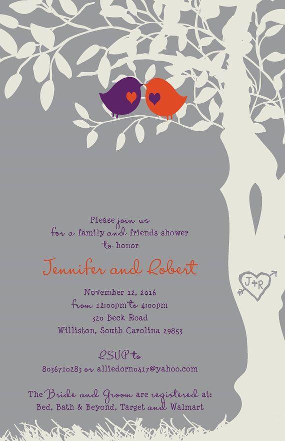 custom listing for allison dorn digital files purple orange and gray love birds in a tree wedding invitations