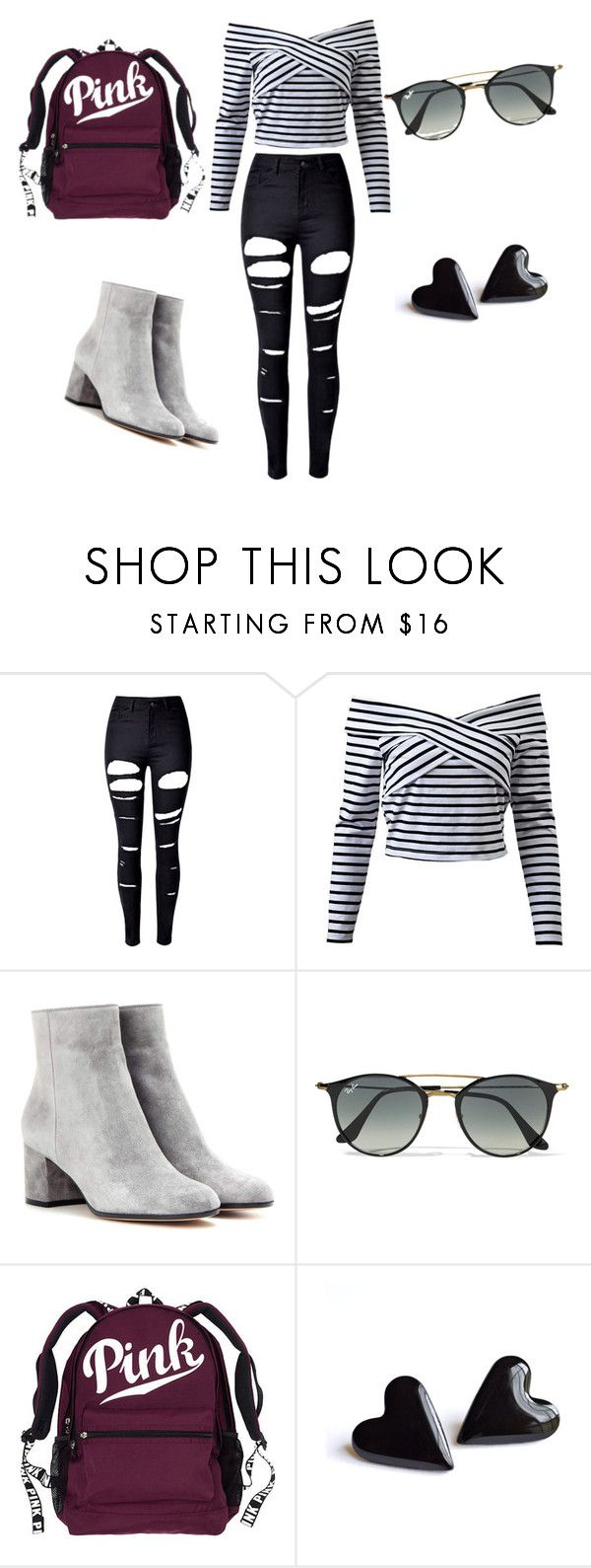 """""""Insta Model"""" by saramichael on Polyvore featuring WithChic, Gianvito Rossi and Ray-Ban"""