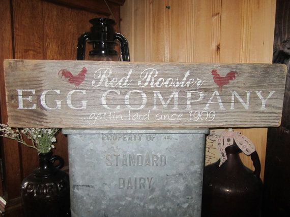 Red rooster sign egg sign chicken coop sign hen house sign for Montana rustic accents