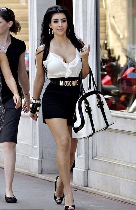 Kim Kardashian wearing Christian Louboutin Very Prive Pumps in Pony Hair Moschino Belt. Kim Kardashian Out in Monaco June 10 2008.