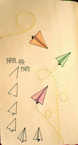 Paper airplanes are fun to draw   by texasdoxiemama