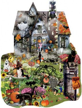 Spooky House Shaped Jigsaw Puzzle | Halloween & Fall | Vermont Christmas Co. VT Holiday Gift Shop