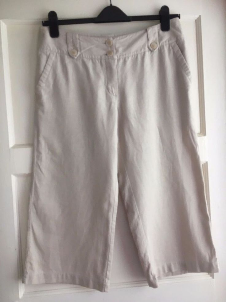 Marks and Spencer Ladies cropped trousers, linen blend, size 14 short #MarksandSpencer #CapriCropped