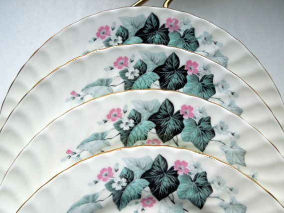 Vintage Aynsley Plates Lunch Set of 5 Swirled by Passion4Europe
