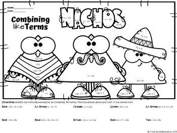 BUNDLE Cinco De Mayo math worksheets Basic Algebra Color