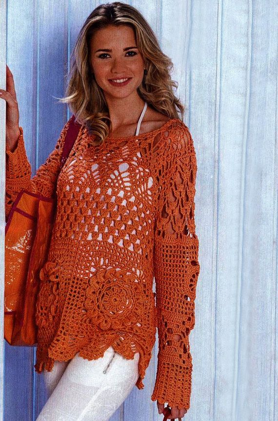 Crochet tunic PATTERN, long sleeves crochet tunic PDF pattern, detailed description in ENGLISH for every row, casual crochet tunic pattern.