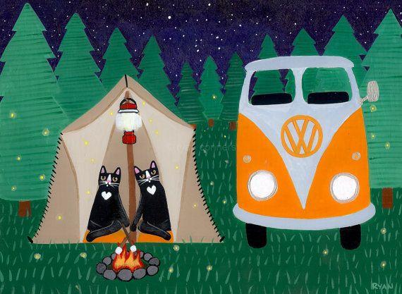 Camping in the Woods Original Cat Folk Art by KilkennycatArt