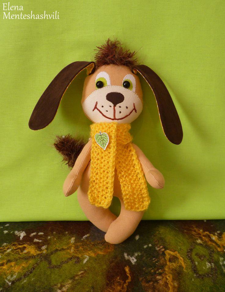 Собака текстильная.