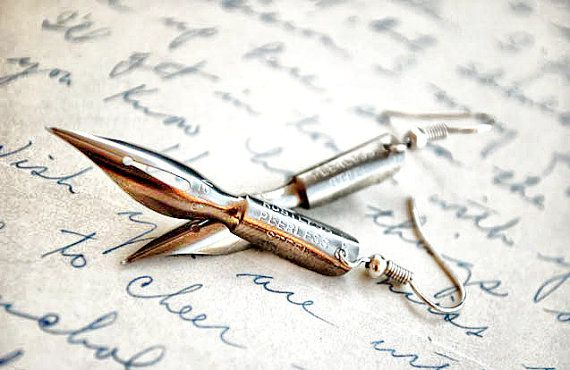 fountain pen earrings! behold those who journal & love to craft with words! like it lots!