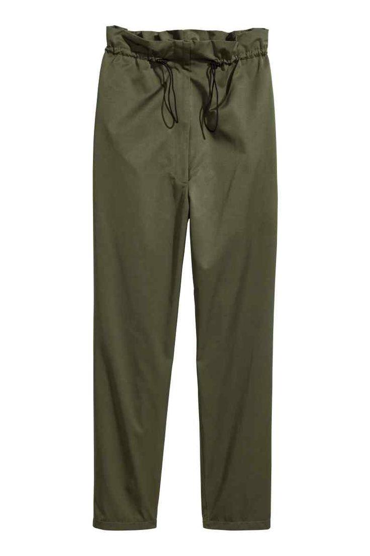 Pantalon avec lien de serrage - Vert kaki - FEMME | H&M FR