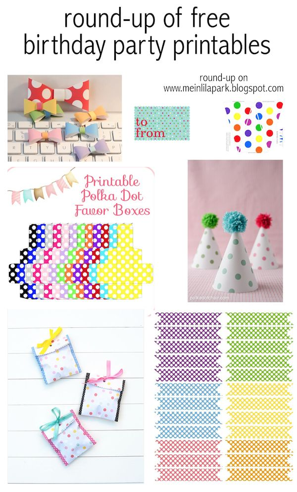 12+ free party printables - polka dot themed - Geburtstag Druckvorlagen - links