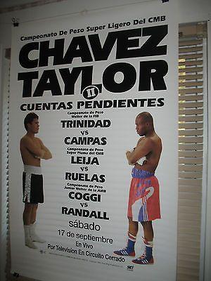 1994 JULIO CESAR CHAVEZ vs. MELDRICK TAYLOR II Boxing Poster FELIX TRINIDAD