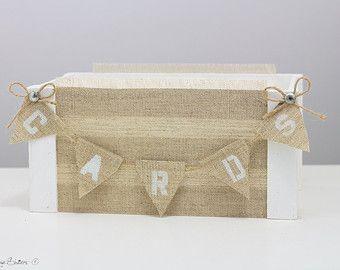 White Wedding Card Box with Banner Vintage Hessian Wedding Decor Barn Wood Crates Baskets Centerpiece Reception Decor