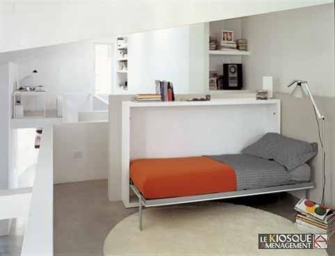 Lit escamotable 1 place avec table rabattable 3 chambres filles pinterest - Lit escamotable 1 place ...