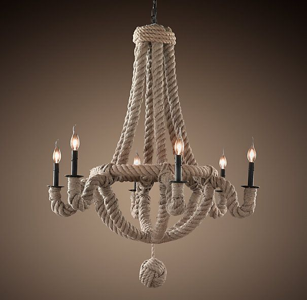 Could we make this ourselves with the old chandelier?  I'd have to remember how to tie a monkey's fist, but I think that's do-able.  (It's originally from Restoration Hardware.)