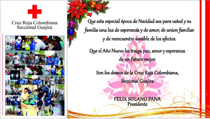 Tarjeta de Navidad de la Cruz Roja Nacional Seccional Guajira