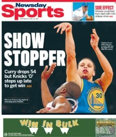 Golden State Warriors guard Stephen Curry dropped a career-high 54 points on the Knicks at Madison Square Garden on Wednesday, but the Knicks squeaked out with a 109-105 win.