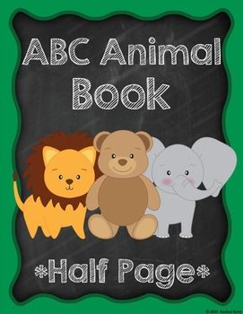 ABC Animal Book Template - Half Page - These ABC animal book pages are ready to print, cut, and go! Students can create their very own animal ABC books in color or in black & white. These smaller books will save paper as there are two letters per page. They are perfect for writing workshop, animal units, and more!
